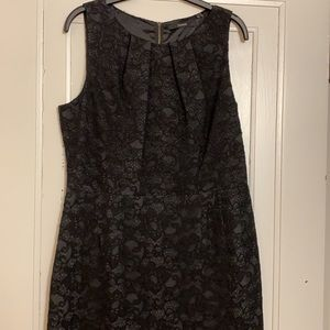 Tahari Black Lace over Grey Dress with exposed zip